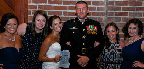 Madonna Toomey married Major Damon Doykos in Sacramento, Calif. From left: Niki Stange '10, Sarah Miles, Toomey, Doykos, Kate Kearney, and Katie (Keating) Cook