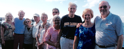 Classmates and their wives (from left): Dona and Jack Martin, Rita and Jack Kinney, Nancy and Jerry Donatucci, Cheryl and Dick Hartman, and Carolyn DeMateo and Emmitt Feely