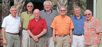 Classmates met for lunch in Florida (from left): Paul Napoli, Denny Yavorsky, Michael Leonard, Paul Stetz, Paul Dwyer, Don Zawistowski, and Ron Reuss.