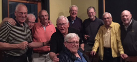 A gathering in Myrtle Beach (from left): Dick Koenig, Bill Smith, Mike Herald, John Breen, Charlie Englehart, Al Rutledge, Dave McClenahan, Gordon Priemer, and Frank Kelley