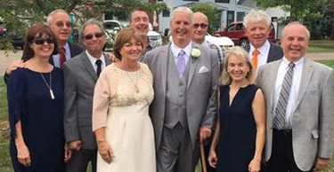 Tom and Mary Berges, Bill Fiore, Tom and Kathleen Crimmins, Mary Ann Miller, Jim Gorman, Dave Luvison Jim Murphy, and Steve Arens at the Crimmins' daughter's wedding