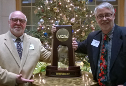 Lacrocca and Patno with the NCAA semifinal trophy