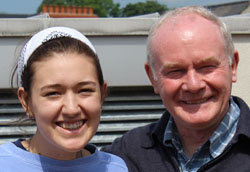 Deputy First Minister of Northern Ireland and former paramilitary commander Martin McGuinness with Leah Applebee '19