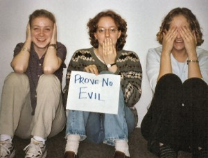 Prove No Evil Paper shown by 3 girls