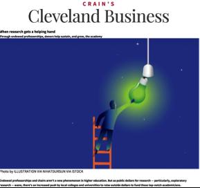 Illustration of a man on a ladder holding a green lightbulb