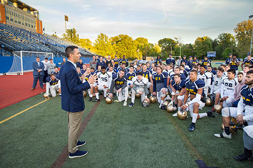 Tom Telesco Meets With The Football Team At Shula Stadium