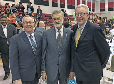 Michael Johnson and Mayor Frank Jackson at the announcement of Say Yes to Education.