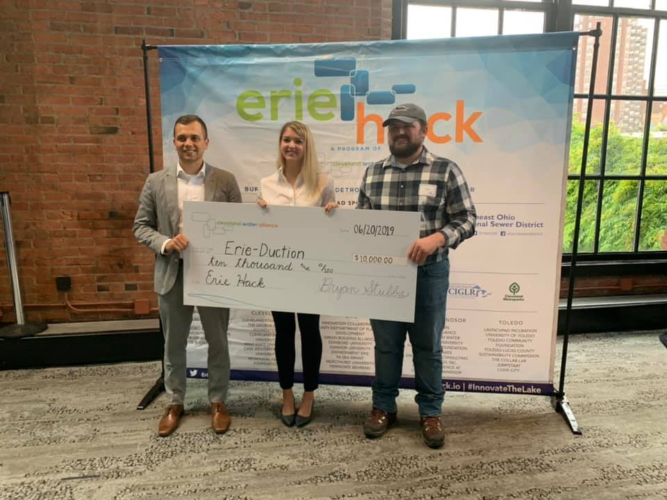 Gus Kazek '18, Brooke Baker '19, and Matthew Wilson '20 won third place in Eriehack 2019.