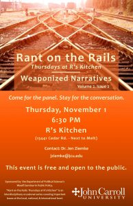 Poster for Rant on the Rails: Weaponized Narratives event