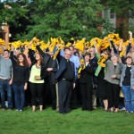 Waving John Carroll colors at the 125th anniversary celebration on the Quad, September 2011.