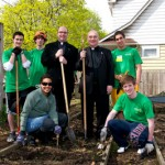May 2011, at Cultivating Community Day with Saint Ignatius High School President William J. Murphy, S.J., and volunteers from Ignatius and JCU communities, in honor of our shared 125th anniversary year.