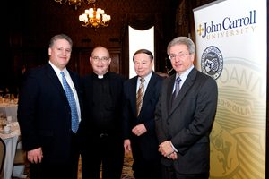 With Patrick J. Ertle, Esq., University Advancement; Allyn R. Adams '64, chair, John Carroll Board of Directors; and Robert A. Valente '69, at the Magis Advisory Group luncheon in January 2009.