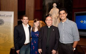 "With ""Meet the Press"" fellowship honorees Andrew Rafferty '09, Kristen Jantonio '11, and Joe Toohey '12."