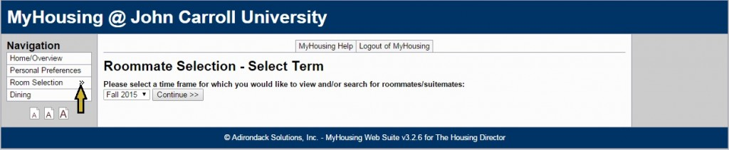 Roommate Selection - Select Term