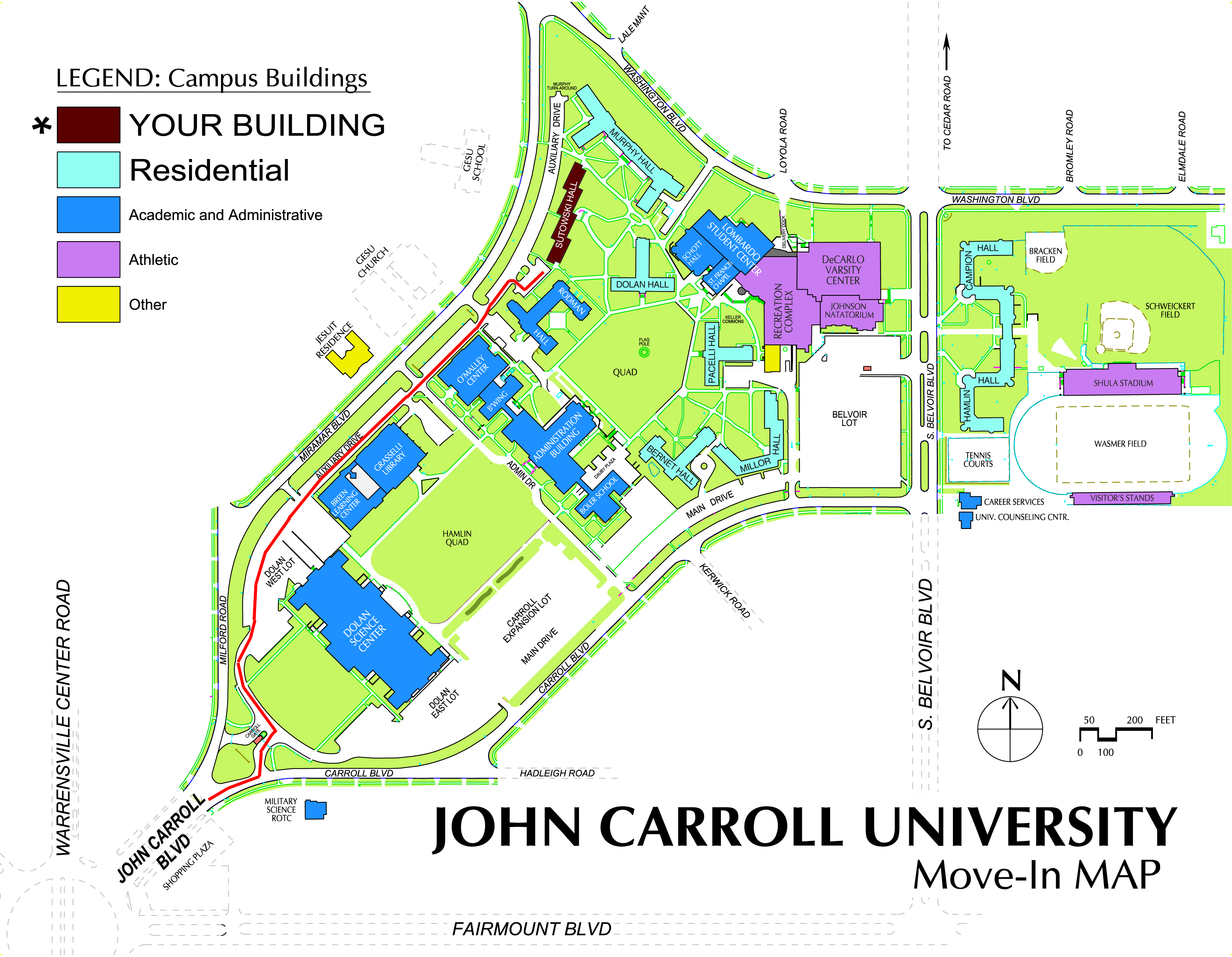 John Carroll University Campus Map.Sutowski Move In Map Office Of Residence Life