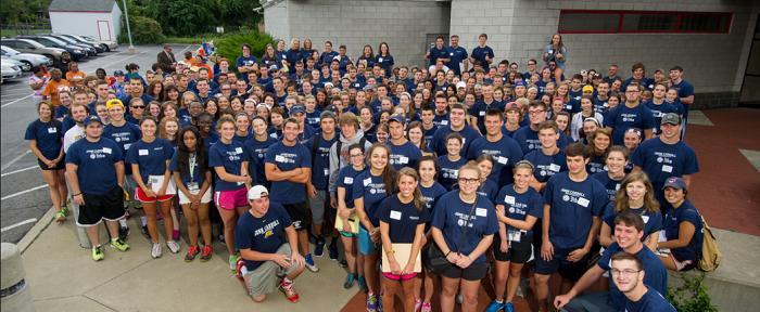 Huge group of student volunteers