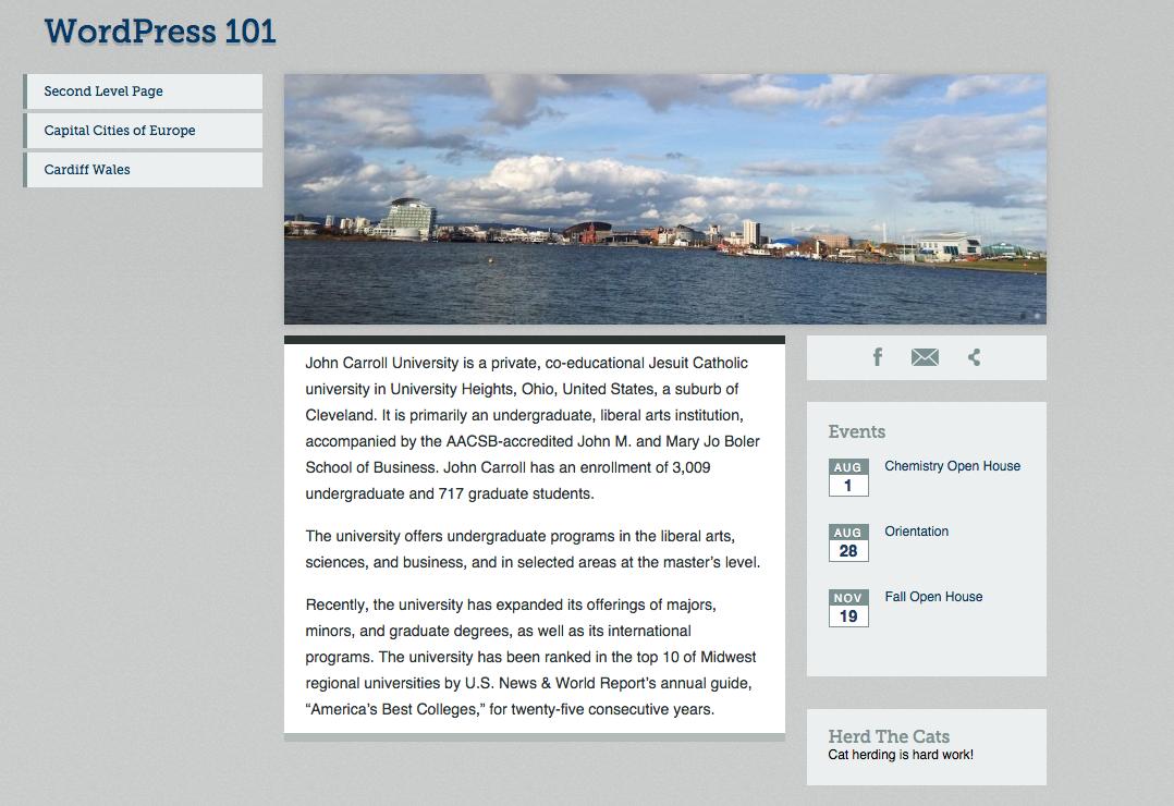 Academic Homepage Template WordPress - Homepage template