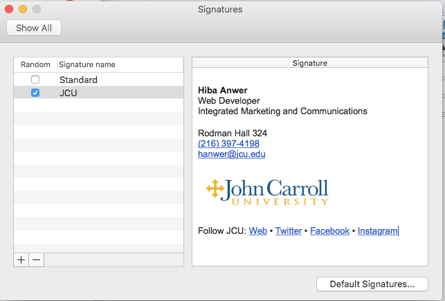 How to setup a signature in mail for mac